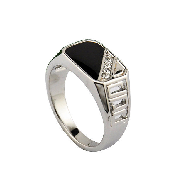 Good Quality Man Jewelry Fashion 18K White Gold Plated Black Enamel Men Finger Ring With CZ Diamond