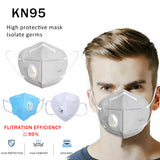 5 Pcs High Quality KN95 Mask PM2.5 Mouth Cover Dust Masks Breathing Valve Folding Non- Wholesale Dropshipping
