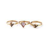 5 Pieces /Set American New Yearl Alloy Retro Women Ring Fashion Jewelry
