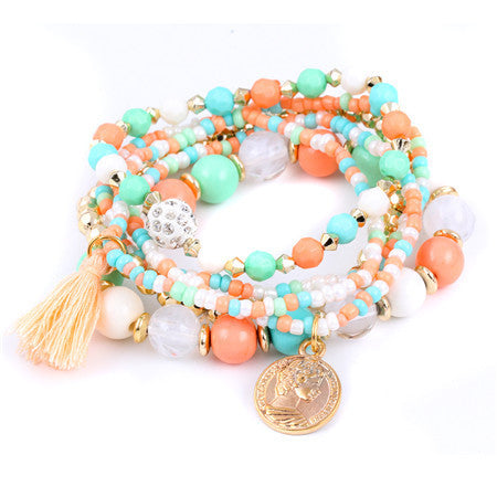 Colorful pulseras Bohemian Ethnic Style Multilayer Beaded Tassel Elastic Rubber Bands Bracelets for Women