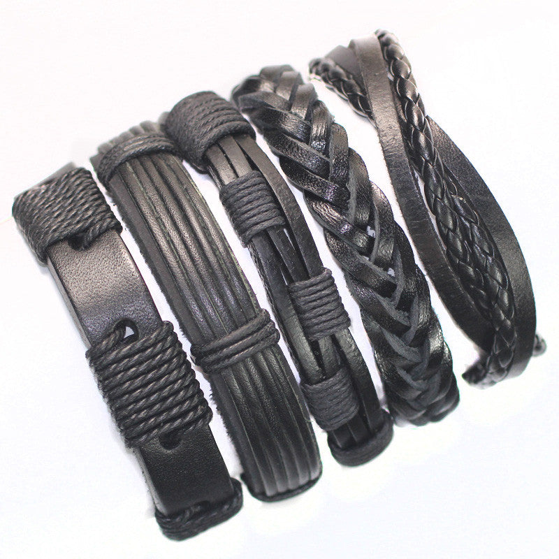 Black wristband genuine braided wrap leather bracelets men bangles for women 5pcs/Lot