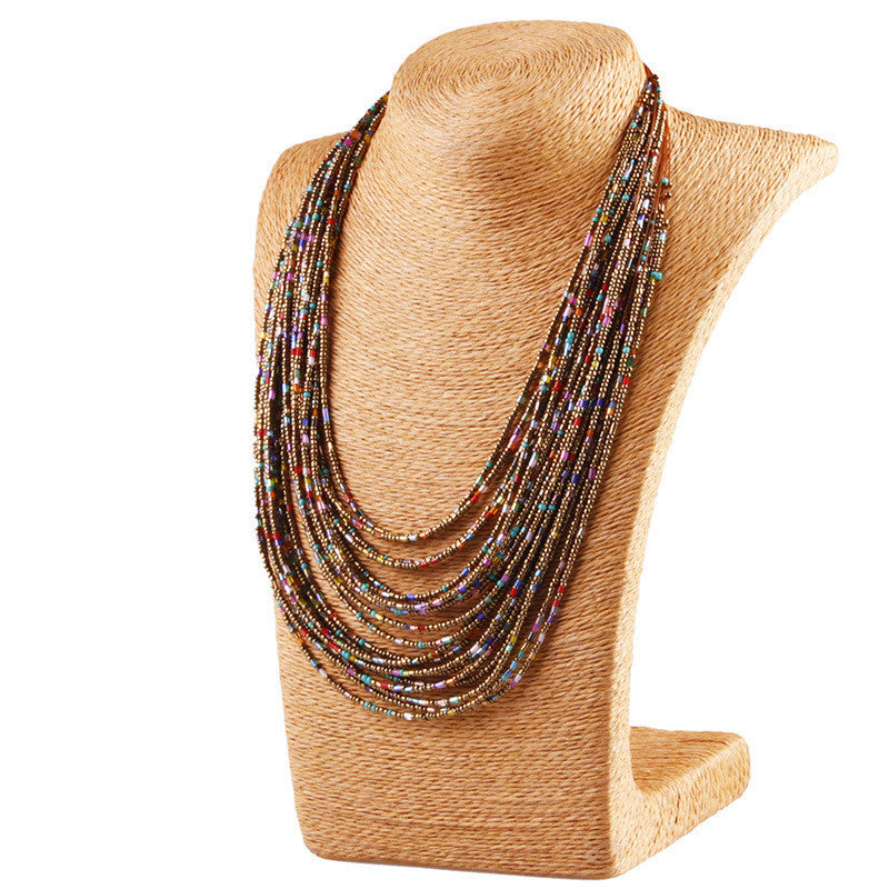 Bohemia Style 20 Layers Hand-woven Bib Statement Collar Beaded Choker Necklace Fashion Jewelry For Women