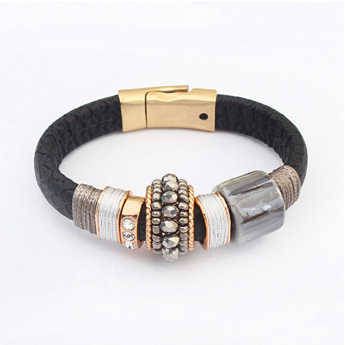 Hot Fashion Magnetic Buckle Leather Bracelet Boho Ceramic Rhinestone Beads Bracelets Bangles Women Men Pulseira Jewelry