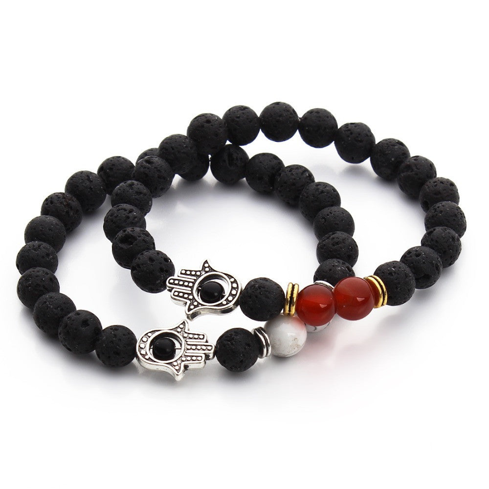 Nature Black Lava Beaded Bracelet Energy Stone Bracelet Hamsa Hand Bangle Charm Yoga Mala Bracelets
