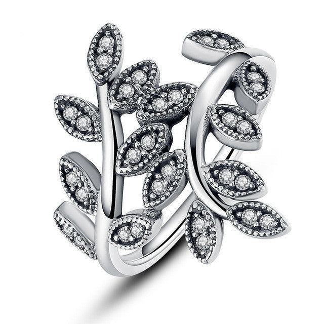 Fashion 925 Sterling Silver Sparkling LEAVES SILVER RING WITH CUBIC ZIRCONIA for Women Original Jewelry