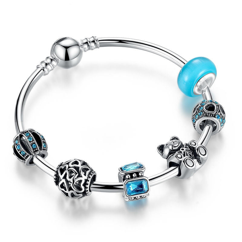 Fashion 925 Silver Charm Bangle with Bear Animal & Open Your Heart Charm Bracelet Blue Glass Ball Friendship Bracelet