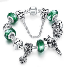 Fashion 925 Silver Green Bead Animal Best Friend Charm Bracelet with Safety Chain for Women Original Jewelry