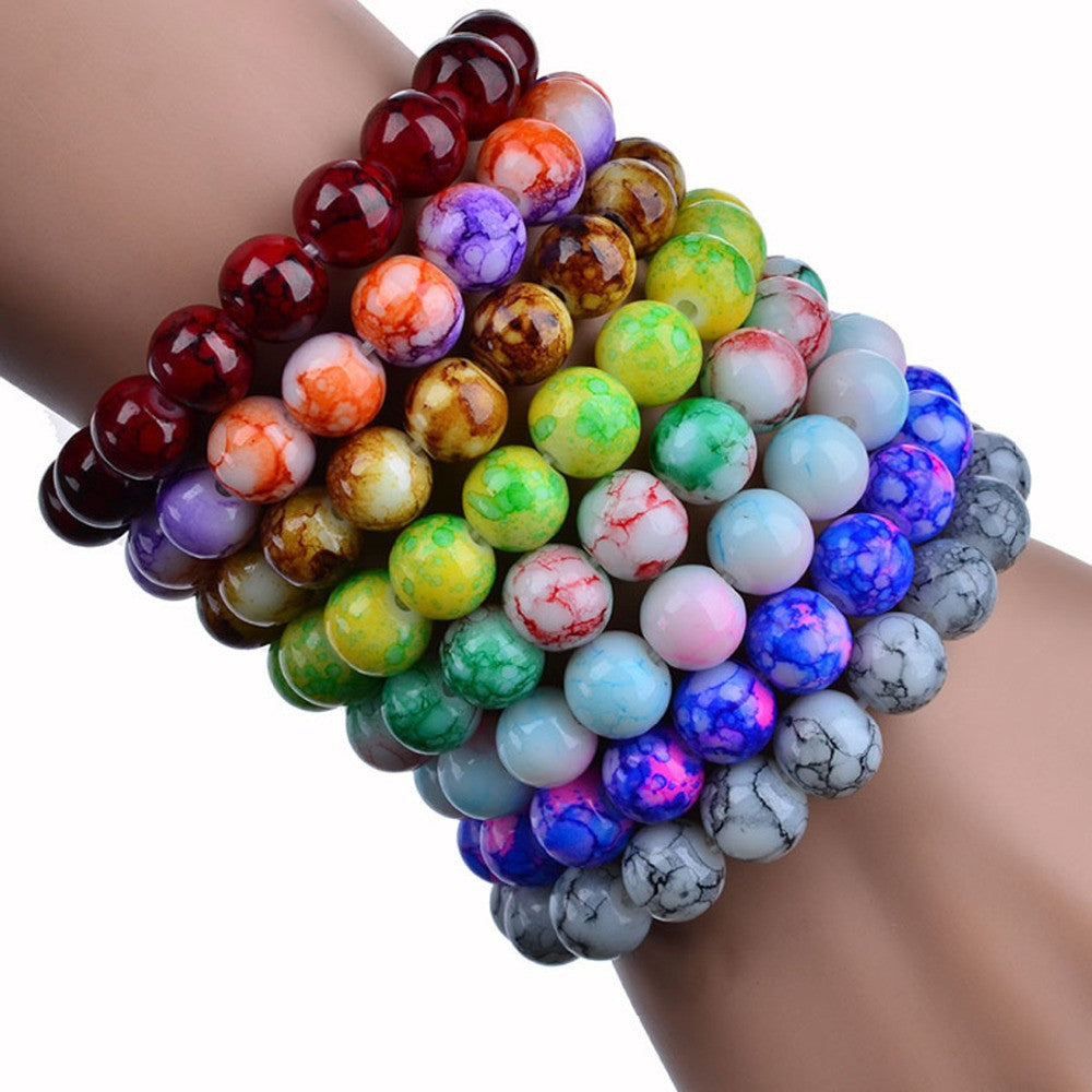 Handmade Natural Stone Stretch/Elastic Glass Beads Charm Bracelets Women Fashion Jewelry Gifts