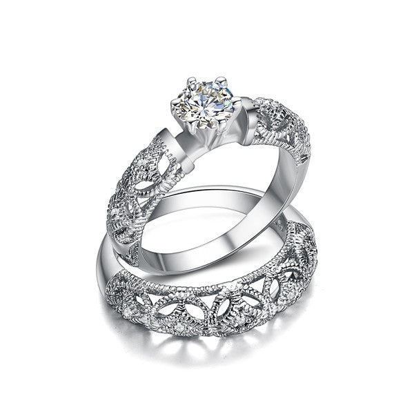 AAA Grade Round AAA+ CZ Diamond Fine Carving Craft Wedding Filigree Ring Set Christmas Gift