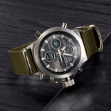 AMST Brand Dive LED Watches Men Sport Military Watch Genuine Leather Quartz Watch Men Wristwatches