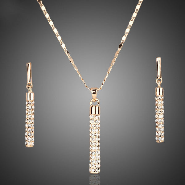 Gold Plated Clear Austria Crystals Drop Earrings and Pendant Necklace Jewelry Sets