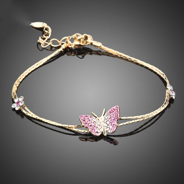 Gold Plated Stellux Austrian Crystal Butterfly and Flower Charm Bracelet