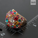 Gorgeous Rose Gold Plated Multicolour Stellux Austrian Crystal Ring