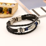 FASHION Punk Angel wings Men Bracelets Black Weave Genuine leather Bracelet Bangles male snaps jewelry