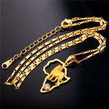 African Jewelry Hip Hop Necklace Men Women Vintage Lion Pendant & Chain Platinum/Gold Plated Africa Map