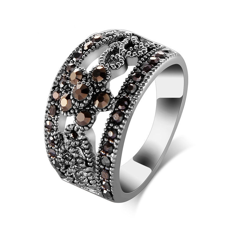 Best Selling Fashion Jewelry Silver Plated Black CZ Flower Vintage Retro Ring Women