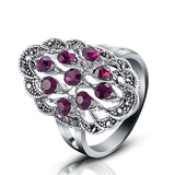 Brand Retro Women's Anel Vintage 18K White Gold Plated Purple/Black Crystal Rings