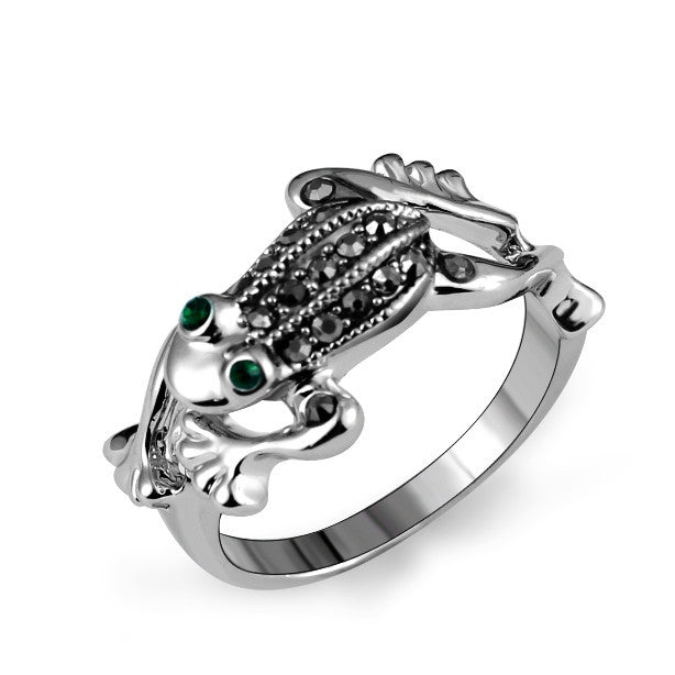 Brand Size 7,8,9 Fashion Animal Designer White Gold Plated Green Crystal Black Rhinestones Jumping Frog Rings Jewelry