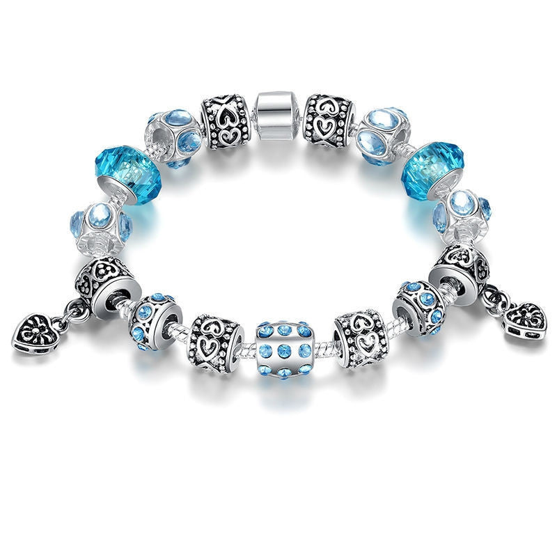 Hot Sell European Style 925 Silver Crystal Charm Bracelet for Women With Blue Murano Glass Beads DIY Jewelry