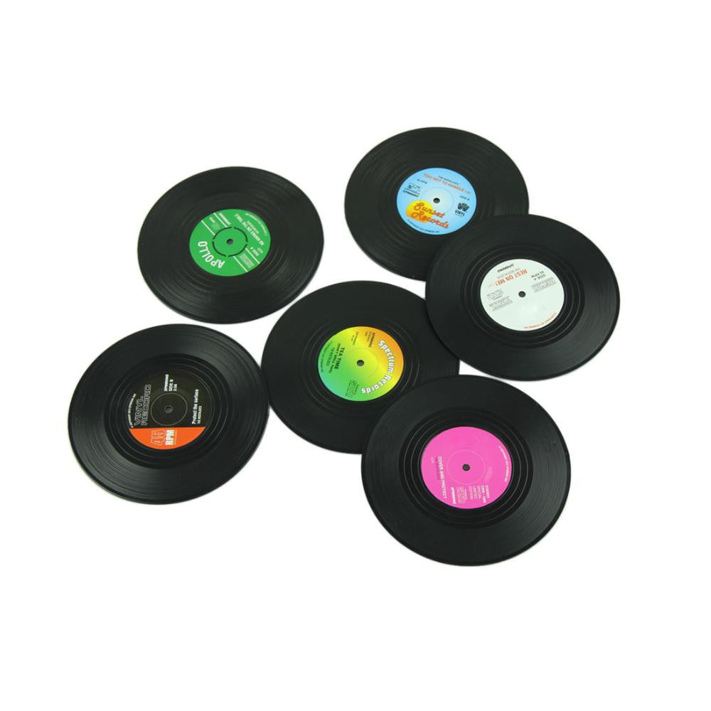 Fashion 6pcs/Set Spinning Retro Vinyl CD Record Drinks Coasters / Vinyl Coaster Cup Mat