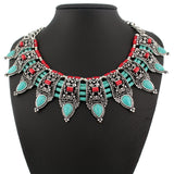 Ancient silver fashion vintage nature turquoise collar bohemian trendy simple punk style necklace for women fine jewelry