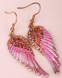 Angel wings dangle earrings antique gold silver plated W crystal women biker bling jewelry gifts