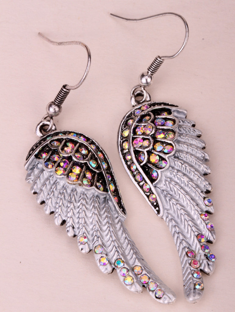 Fashion Angel wings dangle earrings antique gold silver plated W crystal women biker bling jewelry gifts