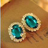 18KG Plated 2Color GorgeousTemperament OL Exquisite Full Cystal Rhinestone Gem18KGP Stud Earrings