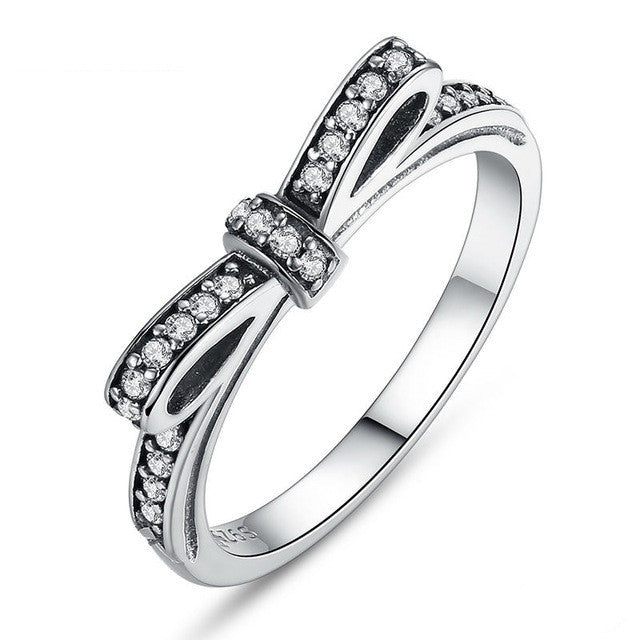 Fashion Authentic 100% 925 Sterling Silver Sparkling Bow Knot Stackable Ring Micro Pave CZ Wedding Jewelry