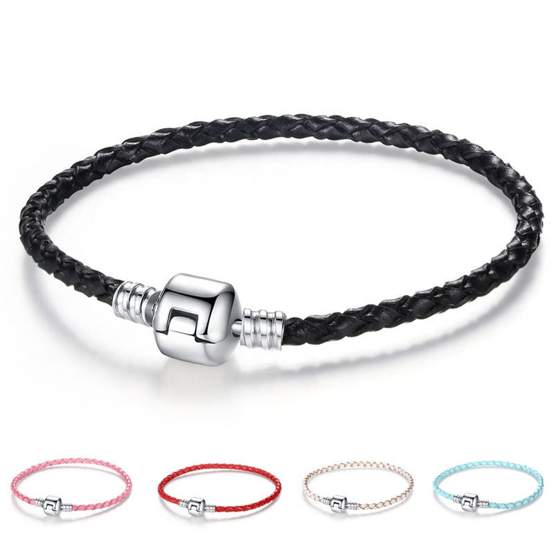 Unique Silver Plated Clasp Genuine Leather Bracelet Fit Women Men Original Charm Bracelet Necklace DIY Jewelry