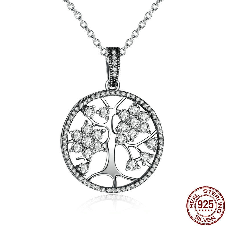 Classic 925 Sterling Silver Tree of Life Pendant Necklaces for Women Women Fine Jewelry collares