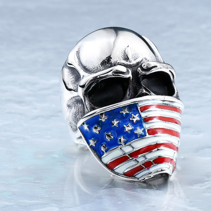 Cool American Flag Stainless Steel Skull Ring for Man Personality Biker Jewelry