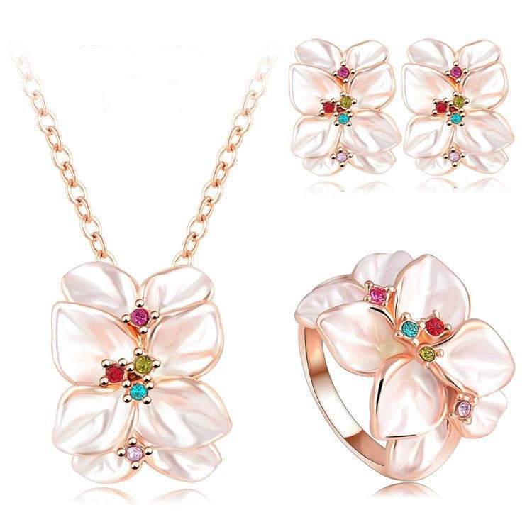 Hot Sale Jewelry Set Rose Gold Plated Austrian Crystal Enamel Earring/Necklace/Ring Flower Set Choose Size Ring