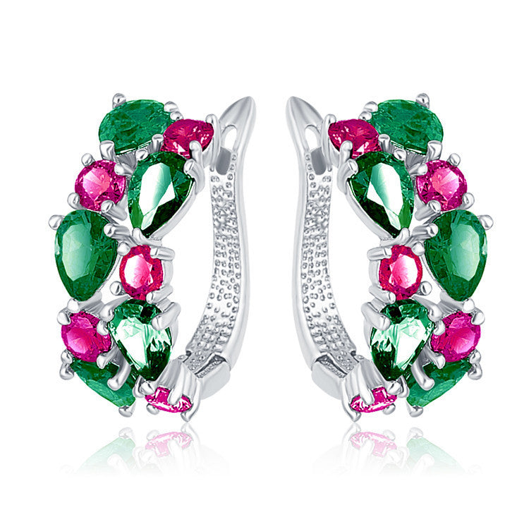 Multicolor Earrings Rose Gold Plated Micro Inlay AAA Cubic Zirconia Stud Earring For Women Red Pink White