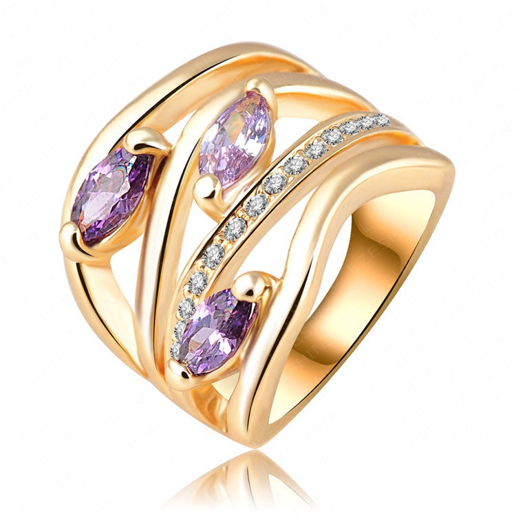 Newest Unique Multi-layer Engagement Rings Genuine Gold Plated Pave Austrian Crystals Fashion Jewelry