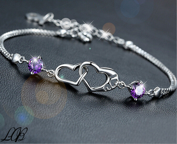 Beautiful Gift For Lady Romantic Silver Plated Austrian Crystal Bracelets Bangles for Women Heart Bracelets & Bangles