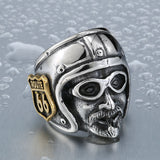 Motorcycle Biker Man Ring With Gold Route 66 Stainless Steel Unique Route 66 MC Club Biker Ring