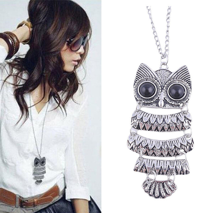 Best Deal New Fashion Lady Women Vintage Silver Owl Pendant Necklace Best Gift