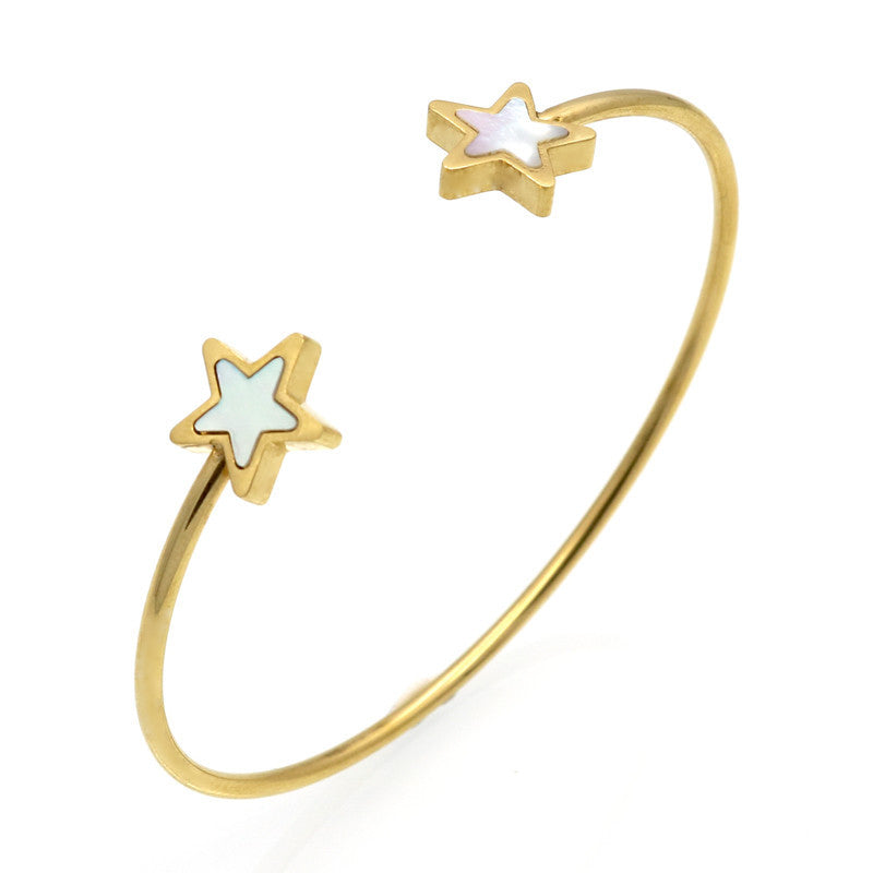 Clover/Heart/Triangle/Star Ope Bangle For Women 18K Real Gold Plated Fine Jewelry Fashion Female Bracelets & Bangles