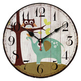 Best Deal New European Style Vintage Creative Forest Owl Round Wood Wall Clock Quartz Bracket Clock 1PC