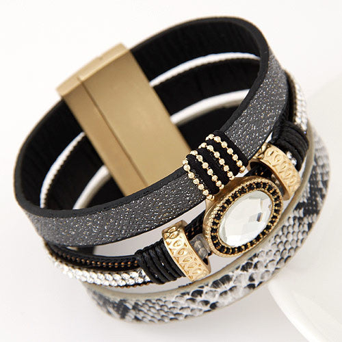 Big Brand Fashion Gem Rhinestone Wide Magnetic Leather Bracelets Bangles for Women Men Wristband brazaletes pulseras mujer