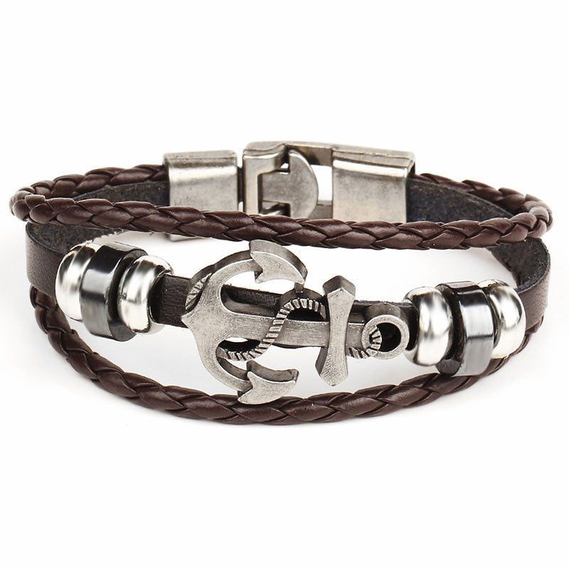 Black/Brown Rock Multilayer Handmade Leather Nautical Anchor Bracelets Men Retro Braided Charm Bracelet Pulseras Mujer