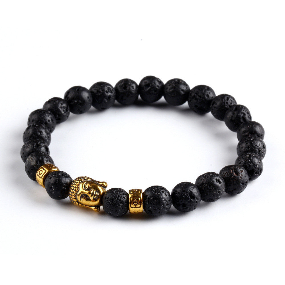 Black Lava Stone Buddha Beads Bracelets Rope Chain Natural Stone Bracelets For Women/ Men Jewelry pulseras pulsera brazalete