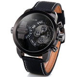Oulm Men Watch with Double Movt Numbers and Strips Hours Marks Leather Band Quartz men sports Watch Military watches
