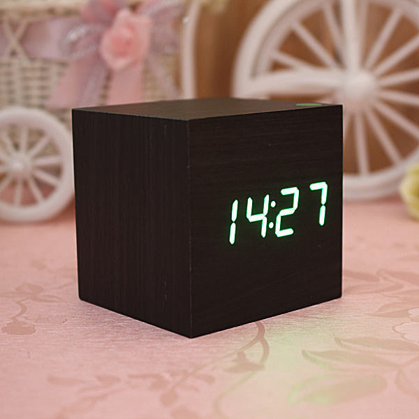 Black Wood Square Green LED Alarm Digital Desk Clock Wooden Thermometer