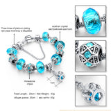 Blue Crystal Charm Bracelets & Bangles for Women With Aliexpress Murano Beads Bracelet Femme Love 925 Silver Sapphire Jewelry