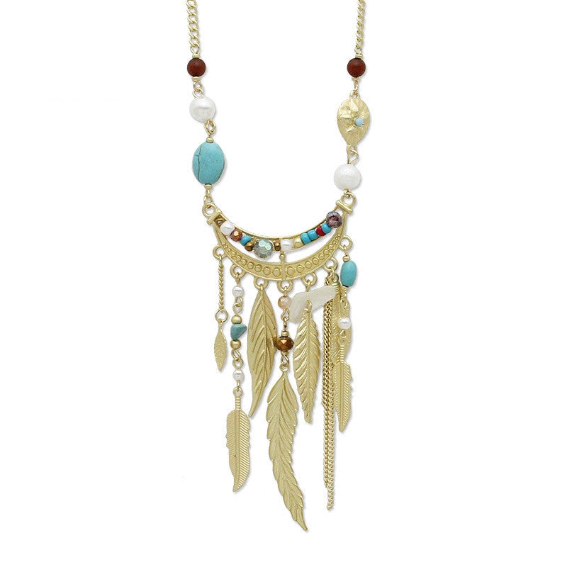 Bohemia Leaves Tassel Long Necklace For Women New Jewelry Matt gold Chain Bead Simple Necklaces & Pendants Collier
