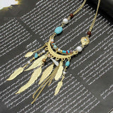 Bohemia Leaves Tassel Long Necklace For Women 2016 New Jewelry Matt gold Chain Bead Simple Necklaces & Pendants Collier