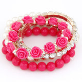 Bohemian Fashion Candy Color Pearl Rose Flower Multilayer Beads Stretch Charm Bracelet & Bangle For Women pulseras mujer