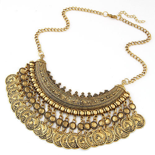 Vintage Bohemian Gypsy Tassel Silver Coin Necklaces & Pendants for Women Vintage Statement Maxi Necklace Choker Collier Femme